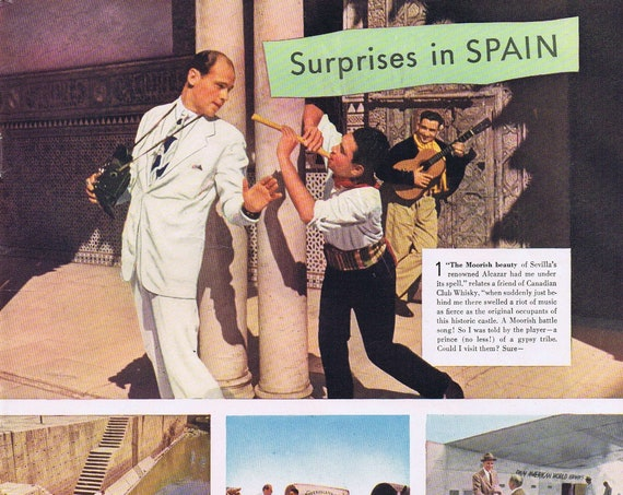 1946 Canadian Club Whiskey Surprises in Spain Original Vintage Advertisement with Neat Photos