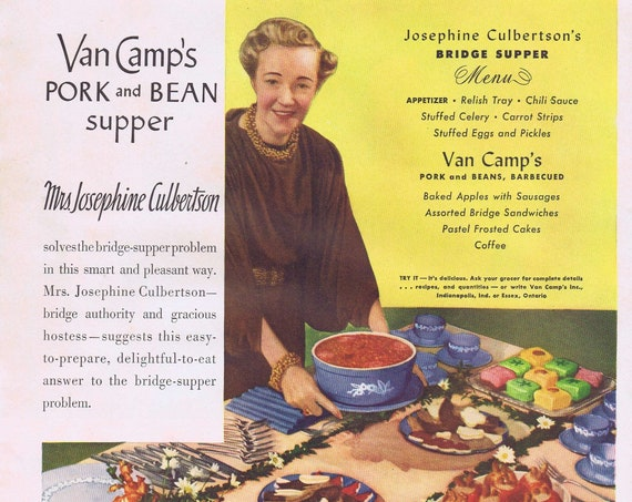 Van Camp's Pork and Beans with Mrd. Josephine Culbertson or Lucky Strike Leaf Tobacco Old Ad