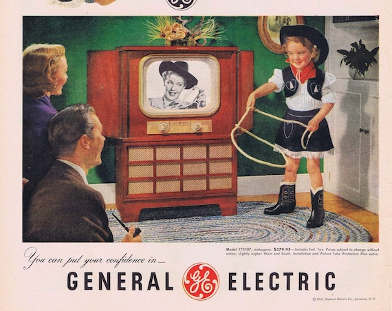 1951 Cute Child Cowgirl and General Electric 17 inch Television or TWA Airlines Welcoming Grandma Original Vintage Advertisement