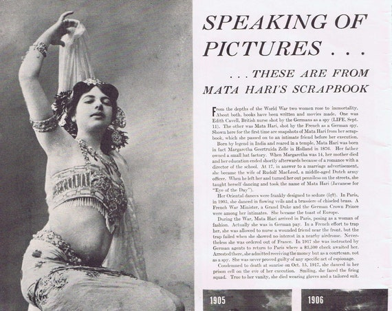 Mata Hari Life Pictures From Her Scrapbook and Feature Story Unique Item