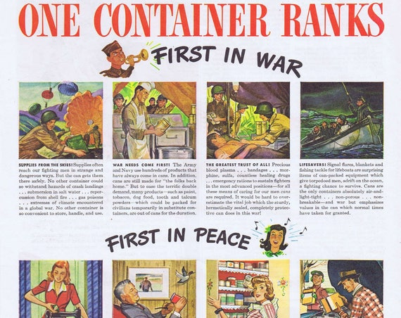 1944 WW2 Can Container First in War First in Peace Original Vintage Advertisement or B-V Wilson Tamale Pie and Recipe