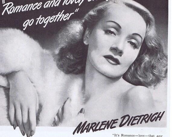 Legendary Actress Marlene Dietrich Lux Toilet Soap 1942 Original Vintage Advertisement Great Pose