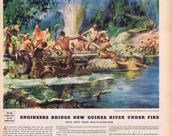 "1943 WW2 Engineers Bridge New Guinea River Under Fire Original Vintage War Salute Ad with Jeeps from Willys-Overland with ""Go-Devil"" Engine"
