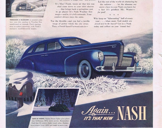 1940 Beautiful Nash Automobile Original Vintage Car Advertisement with Winter Driving Tips
