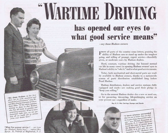 1943 WW2 Wartime Driving and Hudson Motor Car Company Original Vintage Advertisement