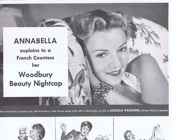 1940 French Beauty Annabella and Woodbury Cold Cream Original Vintage Advertisement