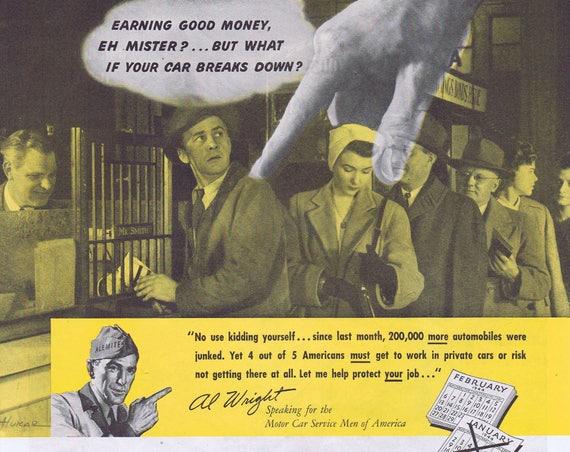 1944 WW2 Alemite and Stewart Warner Keep the Cars Going Original Vintage Advertisement Motor Car Service Men of America