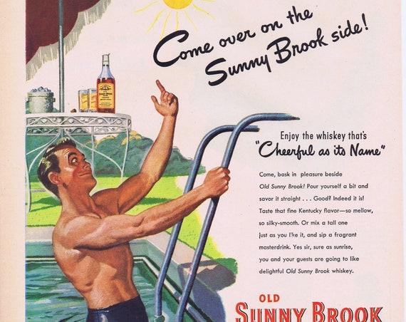 1947 Old Sunny Brook Kentucky Whiskey Original Vintage Advertisement with Man in Pool