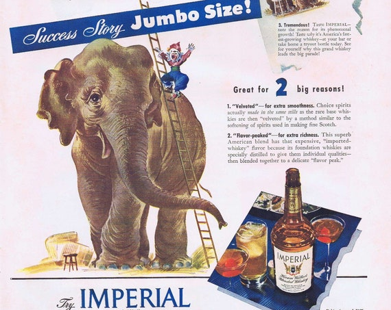 1942 Large Jumbo Size Elephant and Imperial Hiram Walker's Blended Whiskey or Bendix Aviation Corporation WW2 Production Original Ad