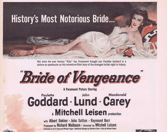 Bride of Vengeance 1949 Original Movie Ad with Paulette Goddard and John Lund