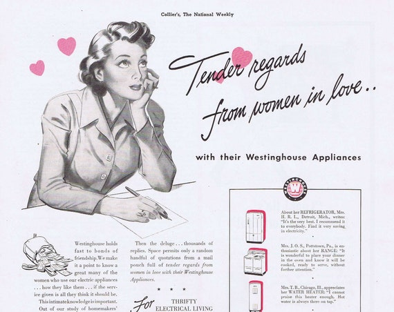 Women in Love with their Westinghouse Appliances or Johnnie Walker Scotch Whiskey WW2 Era Original Vintage 1942 Advertisement