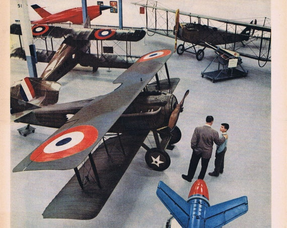 WWI French Spad Plane and Air Force Museum or Kellogg's Variety Pack Cereals Original Vintage Advertisements