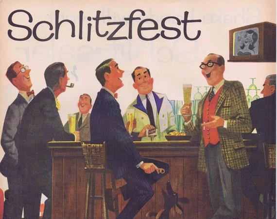 1957 Schlitz Beer and Schlitzfest Two Ads on One Page Original Vintage Advertisement with Schlitz Phrases