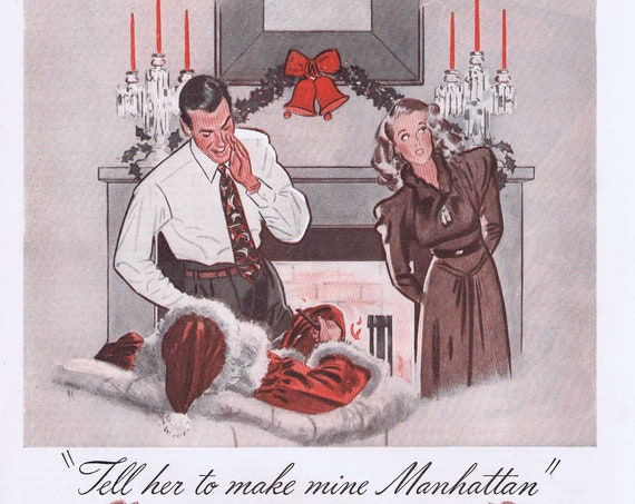 1941 Manhattan Men's Clothing Original Vintage Christmas Advertisement with Man Whispering to Santa Claus by the Fireplace