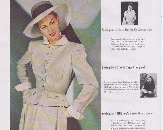 1947 Beautiful Inga Lindgren Models Adele Simpson Spring Crocus Suit with Milliken Wool Original Vintage Ad with Hat by John Frederics
