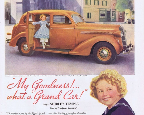 """1936 Dodge with Shirley Temple Original Vintage Advertisement with Promo and Outfit from """"Captain January"""" movie"""