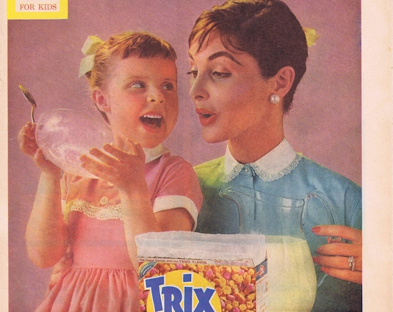 1957 Trix Cereal Mother and Daughter Old Ad