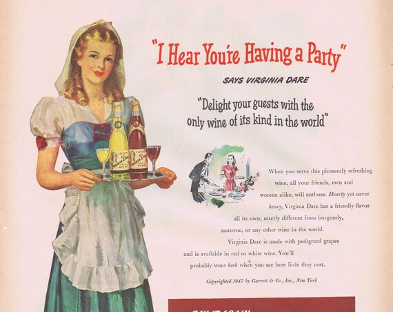 1947 Virginia Dare American Red or White Wine Original Vintage Advertisement with Pretty Lady in Fancy Serving Dress with Apron