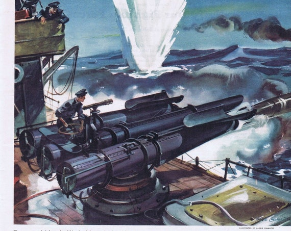 WWII Navy Ship Action Vintage Magazine Color Drawing by Hardie Gramatky