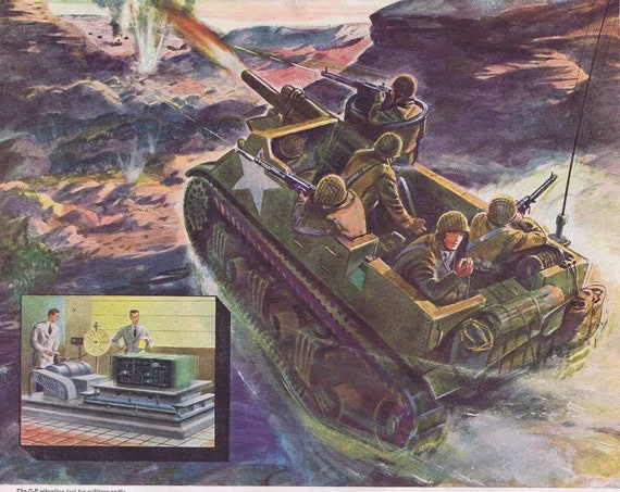 WW2 Tank Destroyer Combat Drawing and General Electric Radio Original Vintage Advertisement Salute