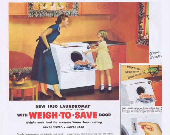 1950 Westinghouse Laundromat Weight to Save Original Vintage Advertisement
