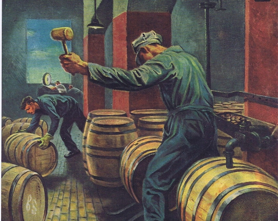 Imperial Whiskey Old 1946 Ad with Whiskey Going into Barrels to Age Painting