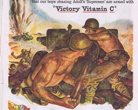 1943 WW2 War Action Drawing and Victory Vitamin C Grapefruit Juice or Milwaukee Road Trains Original Vintage Advertisement Salute