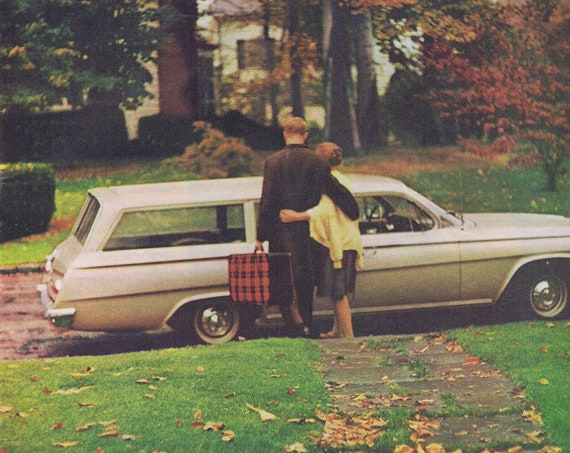 1964 Station Wagon and Man Leaving Home Bell Telephone or De Beers Diamond Original Vintage Advertisements