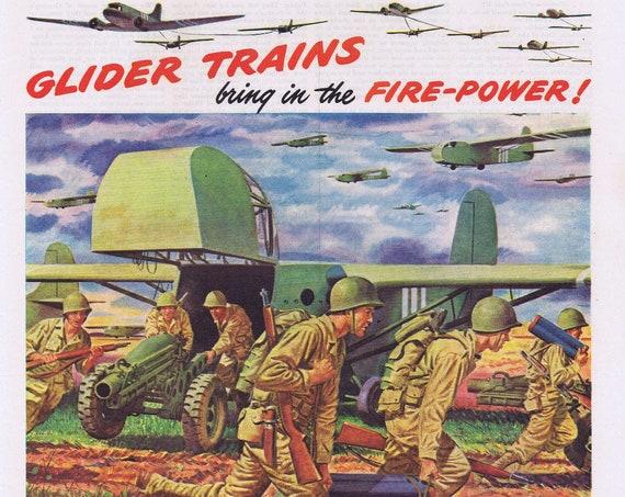 1944 WW2 D-Day Glider Trains King of Battle Original Vintage Advertisement Oldsmobile Salute Wonderful Artwork