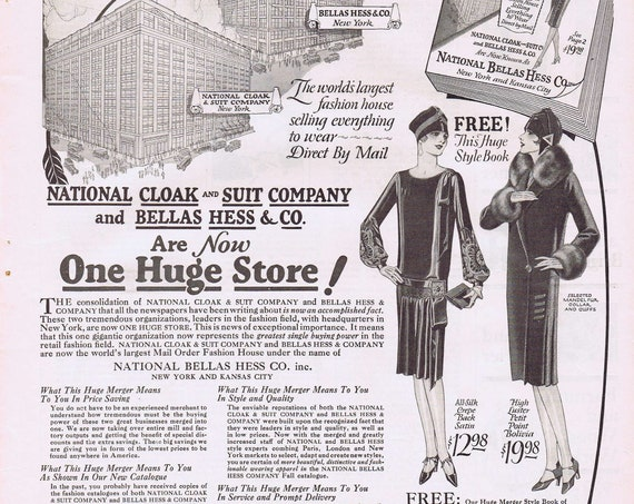 1927 National Cloak and Suit Company and Bella Hess and Co Merger Announcement Original Vintage Ad World's Largest Fashion House Unique Info