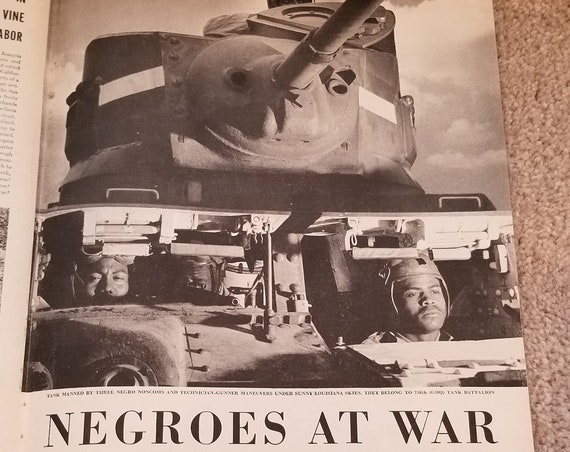 African Americans in WW2 with 11 Pages of Great Photos and Information in Original Vintage Magazine Features