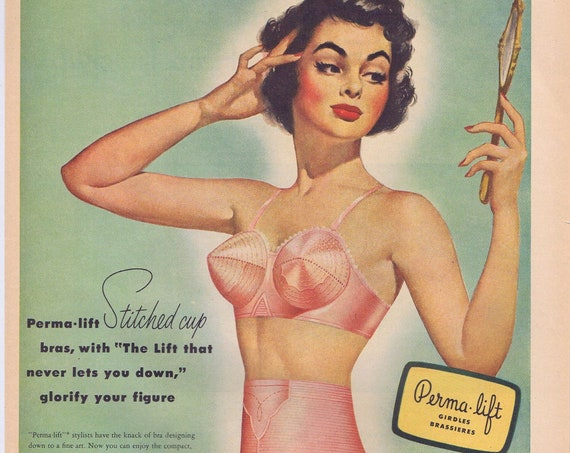 1951 Perma-Lift Stitched Cup Bras and Girdle Sexy Model or Heinz Ketchup and Vinegar Ozzie and Harriet Promo Original Vintage Advertisement