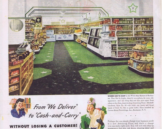 1943 White Star Market of Rochester Armstrong's Linoleum Flooring and Rugs Original Vintage Advertisement
