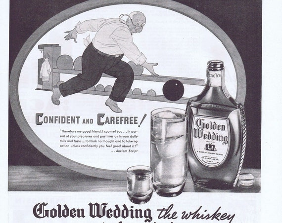 1938 Golden Wedding Whiskey by Joseph Finch and Company Original Vintage Advertisement with Bowling Art
