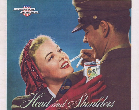 WW2 1944 Soldier and Girl Chesterfield Cigarettes Original Vintage Advertisement
