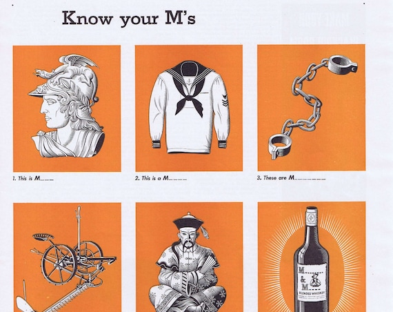 1942 M&M Blended Whiskey Original Vintage Advertisement with Know Your M's Quiz