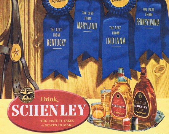 1942 Schenley Black and Red Label Whiskey Made in Four States WW2 Era Original Vintage Advertisement with Blue Ribbons