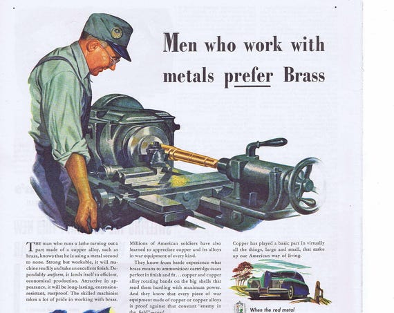 1944 WW2 American Brass Company Factory Lathe Making Metal Alloy for War Equipment Original Vintage Ad Subsidiary of Anaconda Copper & Brass