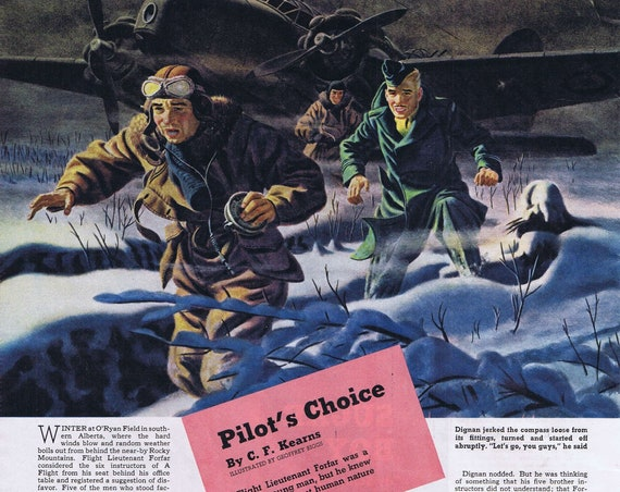 1942 Winter Military Pilot Winter Art by Geoffrey Biggs or Sugar Ray Robinson Vintage Magazine Photo