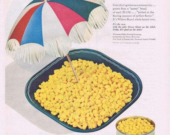 1947 Green Giant Niblets Fresh Corn Off the Cob Original Vintage Advertisement Eating Sunshine