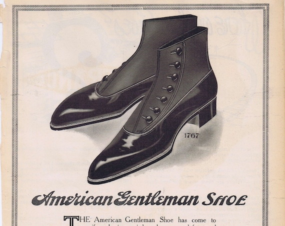 Very Old 1914 Men's Dress Shoes Ad by Hamilton, Brown Shoes