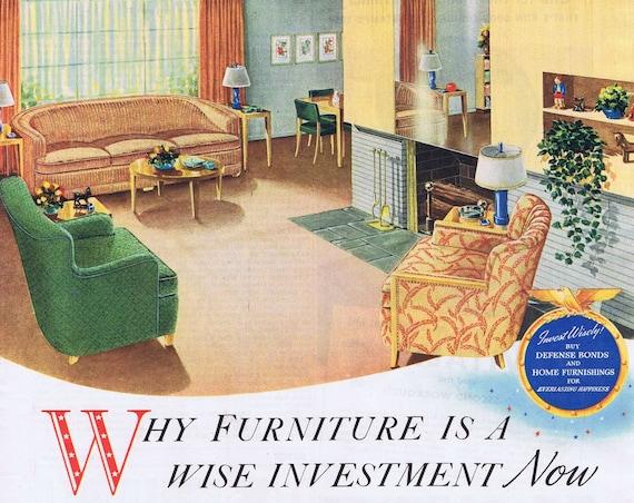 1942 WW2 Era Kroehler Living Room Furniture or Men's Vitalis Hair Tonic Original Vintage Advertisement