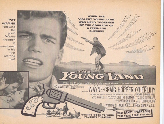 The Young Land 1959 Western with Patrick Wayne and Yvonne Craig Vintage Movie Ad Free Shipping