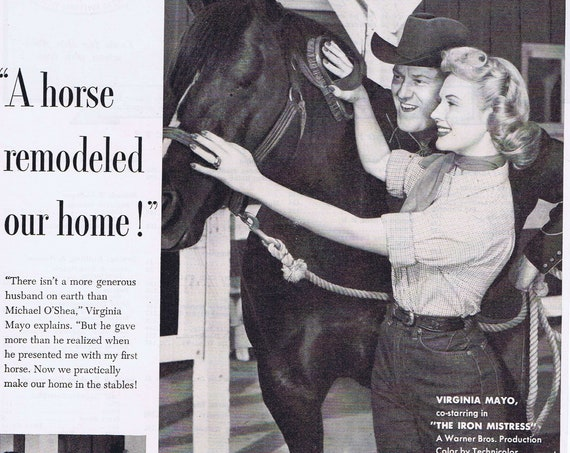 1952 Virginia Mayo and Husband Michael O'Shea Jergens Hand Lotion Original Vintage Advertisement