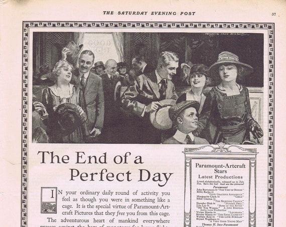 1919 Paramount-Artcraft Motion Pictures Movie Theatre Original Vintage Advertisement