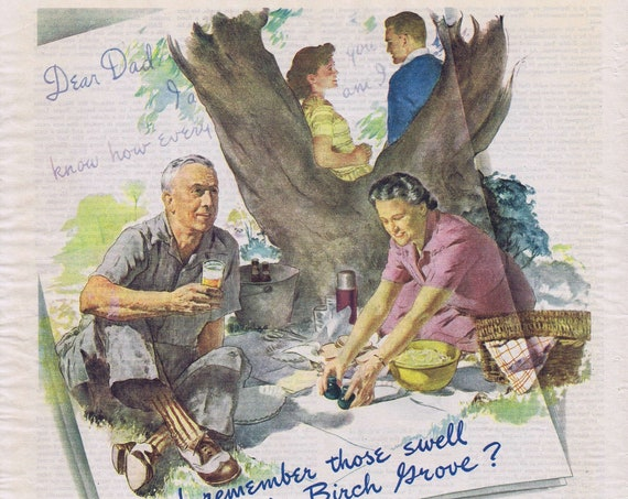 Write to WW2 Soldier to Boost Morale in Old 1944 Vintage Salute by Brewing Foundation Nice Art of Memories