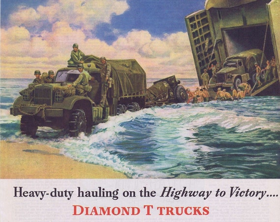 WW2 Hauling on the Highway to Victory Diamond T Trucks Old 1944 Advertisement