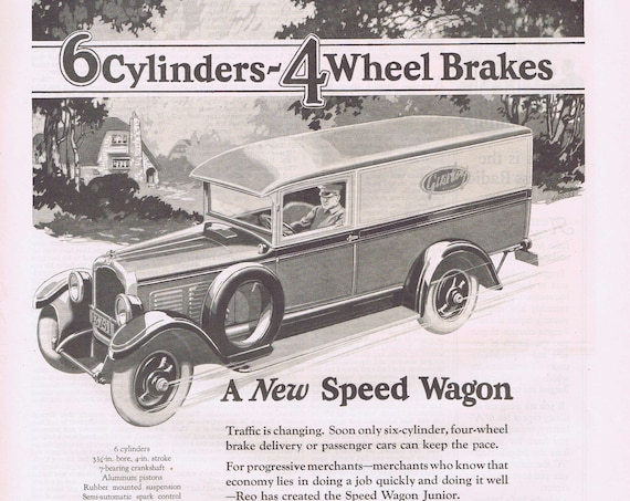 Old and Neat Delivery Truck 1927 Reo Speed Wagon Junior Old Advertisement