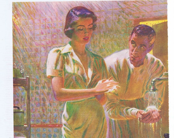 A Doctor and Nurse Share a Moment Operating Room Old Vintage 1959 Magazine Drawing