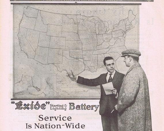1919 Exide Startling & Lighting Car Battery or Rex Steel Chains Original Vintage Advertisement